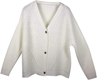 Womens Fashion V Neck Button Down Casual Long Sleeve Knitwear Open Front Cardigan Sweater Outerwear Top