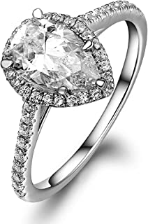 Lourve 14k White Gold Plated 925 Sterling Silver Engagement Ring Pear Cut Soleste CZ Simulated Diamond Pear Soleste (5 Cubic-Zirconia)