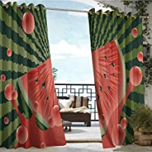 Outdoor Privacy Curtain for Pergola Summer,Beach Fruit Vegetarian Garden Health Life Hot Season Image,Olive Green Dark Coral Hunter Green,W84