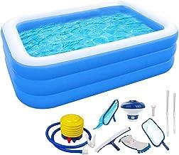 otakujk Piscina familiar con pequeña bomba de aire y utensilios de limpieza, piscina rectangular para niños, piscina familiar hinchable, piscina infantil para niños, fiesta en el agua de verano