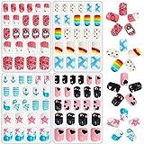 96 Pcs Kids Fake Nails Press on Nails for Girls Pre-glue...