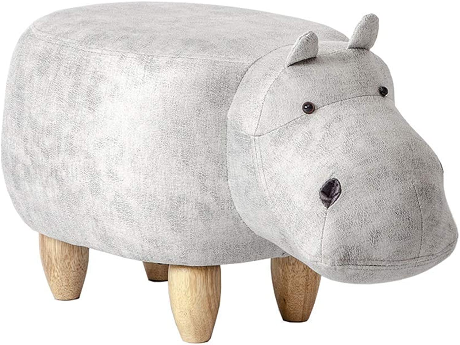 Nwn Creative Hippo Modeling Footstool Storage Stool, Wooden Cartoon shoes Bench Sofa Stool Changing shoes (Size   Footstool)