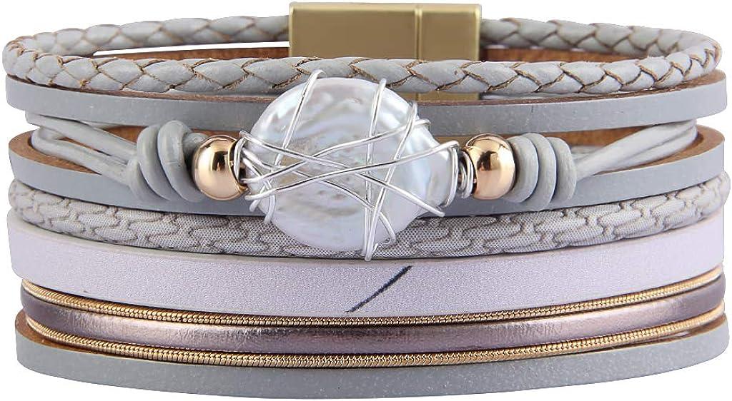 AZORA Womens Leather Wrap Bracelet Baroque Pearl Cuff Bracelets Bangle Jewelry Gift for Women Teen Girls