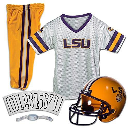 Franklin Sports NCAA LSU Tigers Kids College Football Uniform Set - Youth Uniform Set - Includes Jersey, Helmet, Pants - Youth Small