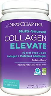 New Chapter Collagen Elevate, 10g Collagen Peptides, (Types I, Ii, Iii), Unflavored, 20 Servings, 7.2 Ounce
