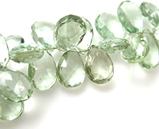 Semi Precious Gemstone Beads- Pear Shaped - Genuine Green Amethyst Faceted Gemstone Briolettes ( 2 Pcs) (12mm, Grade B)