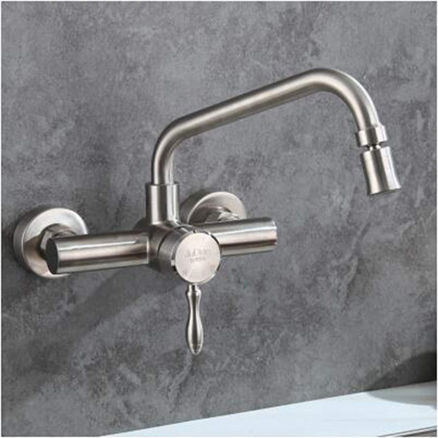 XPYFaucet Faucet Tap Taps In-wall hot and cold 304 stainless steel kitchen sink mop pool balcony shower laundry pool sink, D