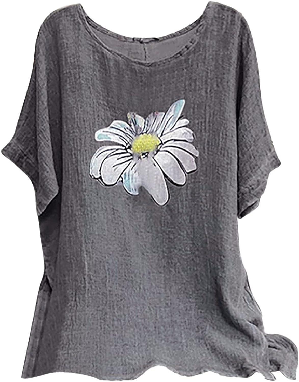 summer tops for women-Print O Neck Short Sleeve Baggy Blouse Tee Shirt Tops Tees