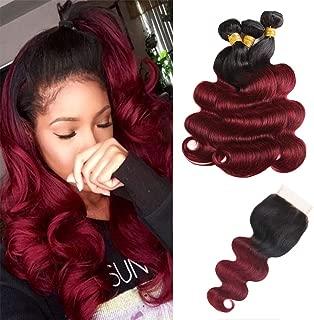 Baiermei Hair Ombre Wine Red Brazilian Virgin Hair Extensions Body Wave 3 Bundles with 4x4 Lace Closure Two Tone T1B 99j Human Hair Weave Bundles (16 18 20+14)