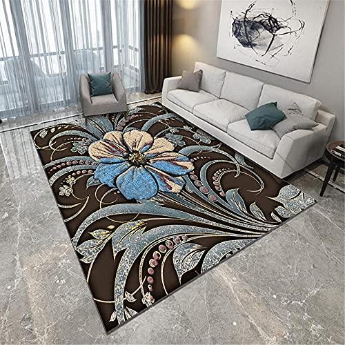 Kunsen Alfombra habitacion Bebe alfombras oficinas Sala de Estar Dormitorio marrón Alfombra Floral patrón de Cristal Terciopelo Duradero Comedor 180X280CM 5ft 10.9' X9ft 2.2'
