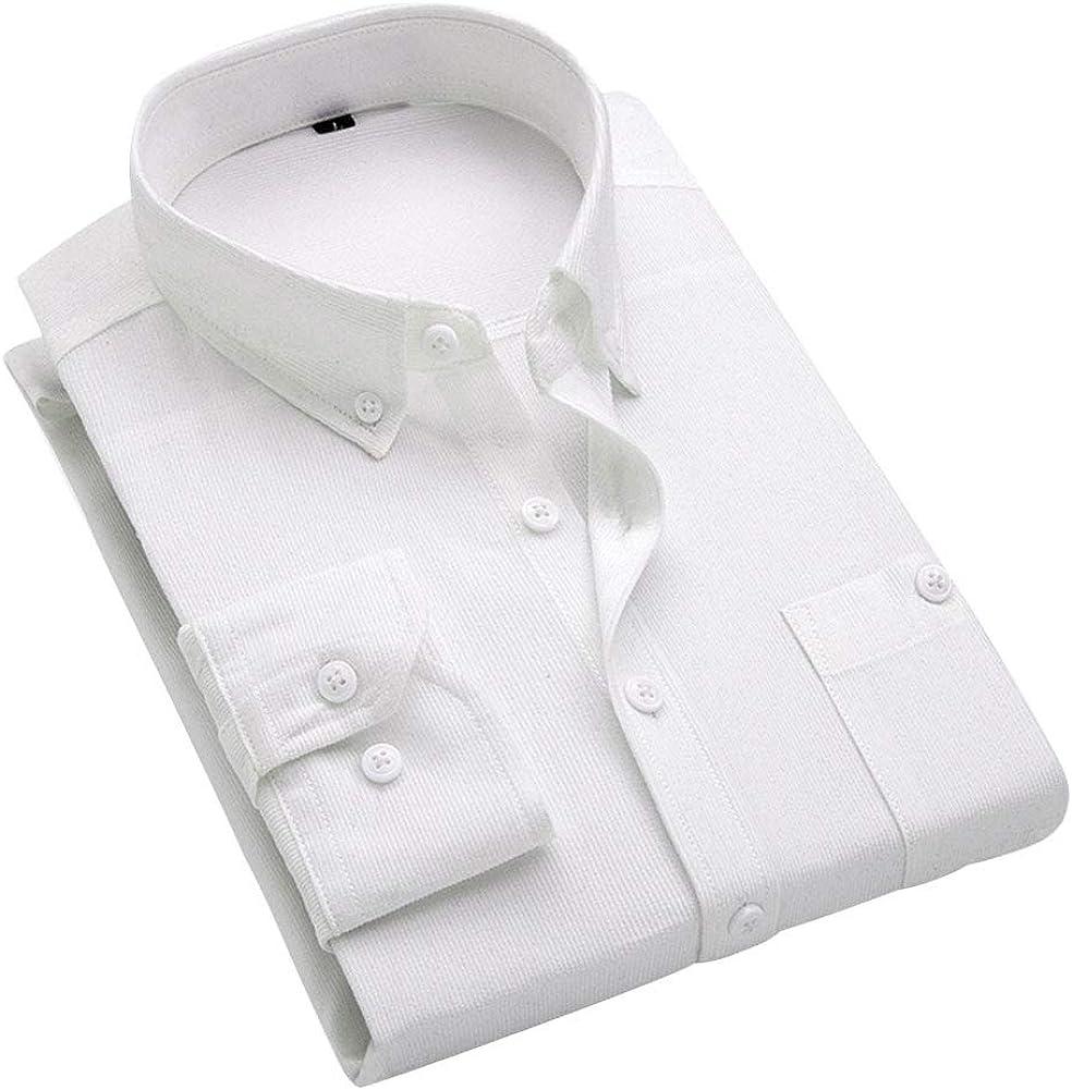 Camisa casual de pana para hombre, ajuste delgado, manga larga, color sólido