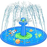 LUKAT Sprinkler for Kids, 68'' Upgraded UFO Inflatable Splash Pad with Rotating Sprinkler Head, Summer Outdoor Water Toys Baby Wading Pool for Toddlers and 1 -12 Year Old Girls Boys