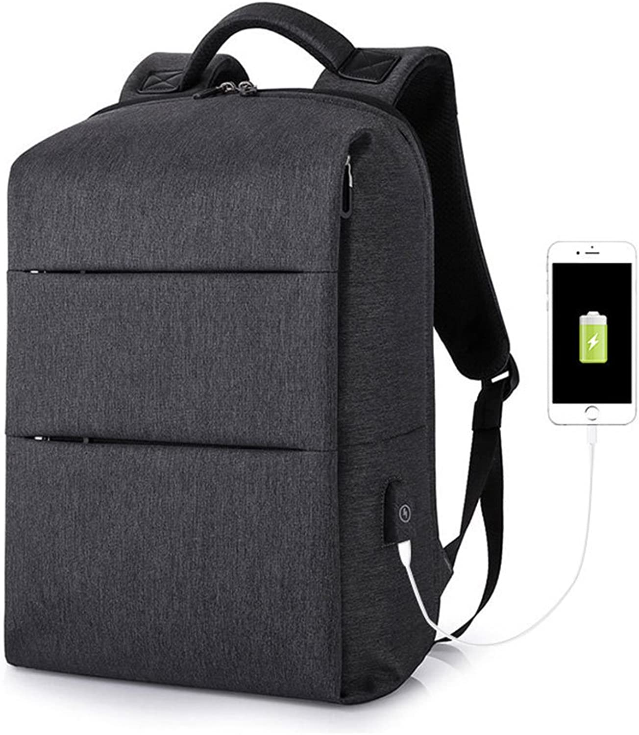MIMI KING Business Backpack Laptop Lightweight With USB Charging Port Box Type For Men Traveling Bag
