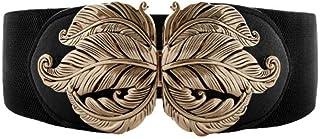 VOCHIC Vintage Stretch Wide Waist Belt For Women Dress Waistband Metal Leaf Buckle