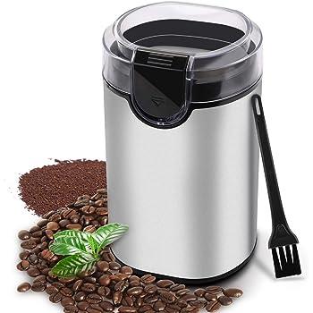 morpilot Molinillo de Café Eléctrico, Molinillos Molinos de Semillas Especias Granos Azúcar, Potencia Alta, Capacidad 70g, Duradero Acero Inoxidable, Libre de BPA, Incluye Cepillo de Limpieza