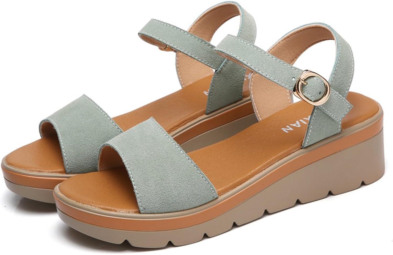 Mobnau Women's Leather Ankle Strap Sandles Summer Sandals