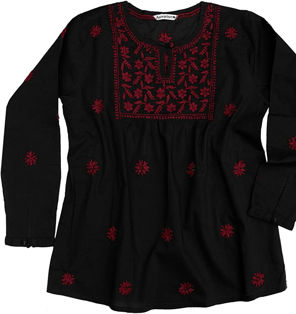 Ayurvastram Pure Cotton Hand Embroidered Blouse Boho Top Today's Spasm price only Peasant