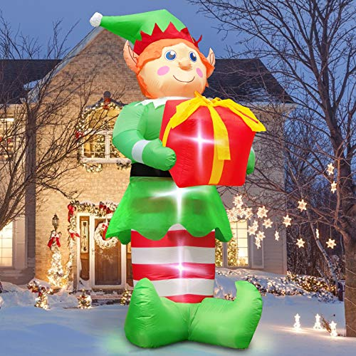 TURNMEON 8 Feet Christmas Inflatables Santa Elf Christmas Outdoor Decorations LED Lights Christmas Outdoor Decor Holiday Blow Up Yard Decoration