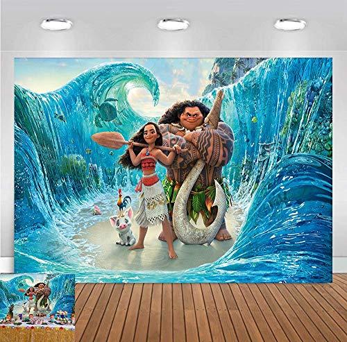 8x5 FT Cartoon Beach Moana Maui Beach Theme Photography Background Baby Shower Birthday Party Decoration Photo Backdrops Studio Props Banner Vinyl