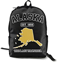 Print Backpack School Bag Alaska Est 1959 The Last Frontier Zipper Rucksack Lightweight Travel Backpacks