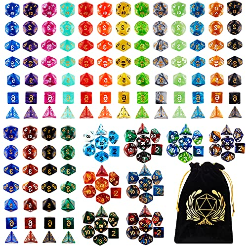 DND Dice Set , 25 x 7 (175 Pieces) Polyhedron Dice 25 Colors Dice for Dungeons and Dragons Tabletop Role-Playing Games with 1 Large Flannel Bag