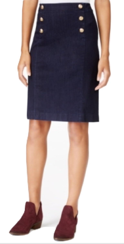 Maison Jules Denim Sailor Skirt, bluee, Size 8
