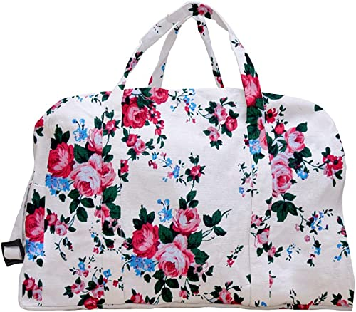 Bags Cotton Folding Travelling Bag Pink Rose Printed Shoe Slipper Bag Eco Friendly Reusable Handbag Capacity 25 LTR 47 5 x 22 x 28 cm Multicolor 1 Pcs