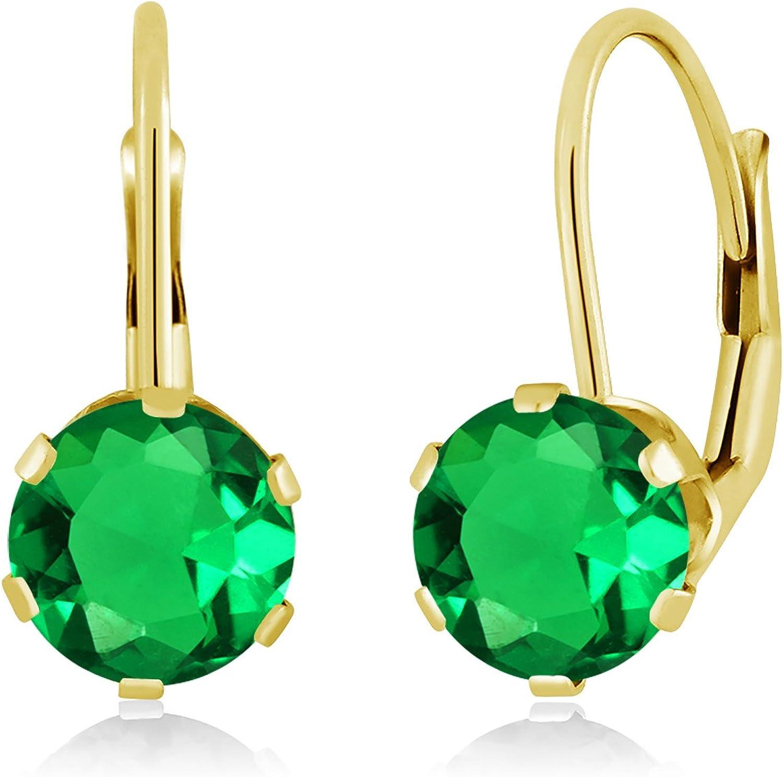 1.54 Ct Round Green Nano Emerald 14K Yellow gold Earrings