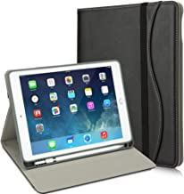 iPad 9.7 Case, Premium Leather iPad Cover with Pocket/Handle Strap, Soft Back Cover Built-in Pencil Holder for iPad 2018 (6th) - iPad 2017 (5th) - iPad Pro 9.7- iPad Air 2 & 1 [Black]
