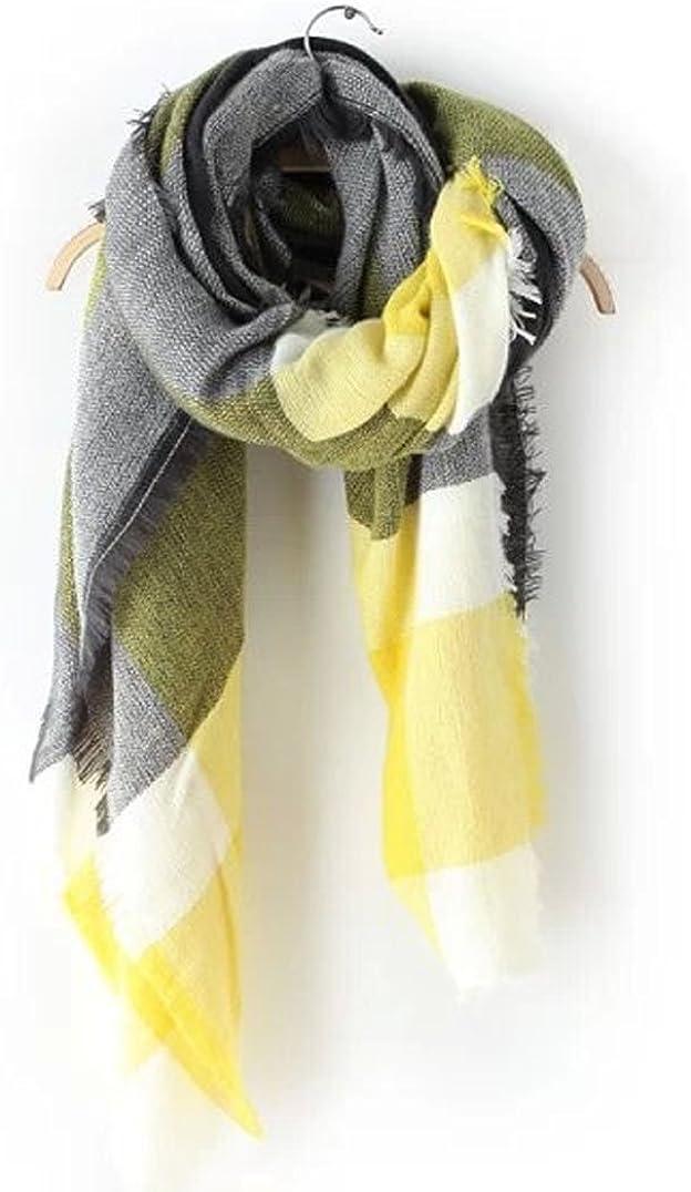 DELEY Retro Weiches Plaid Tartan Herbst Winter Schals Oversized Lange Stola Wrap Deckenschal Gelb
