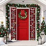Porche de Navidad Decoración de Navidad-cortina de puerta Decoración festiva Puerta Couplet Colgando indicador de la bandera (2 juegos)