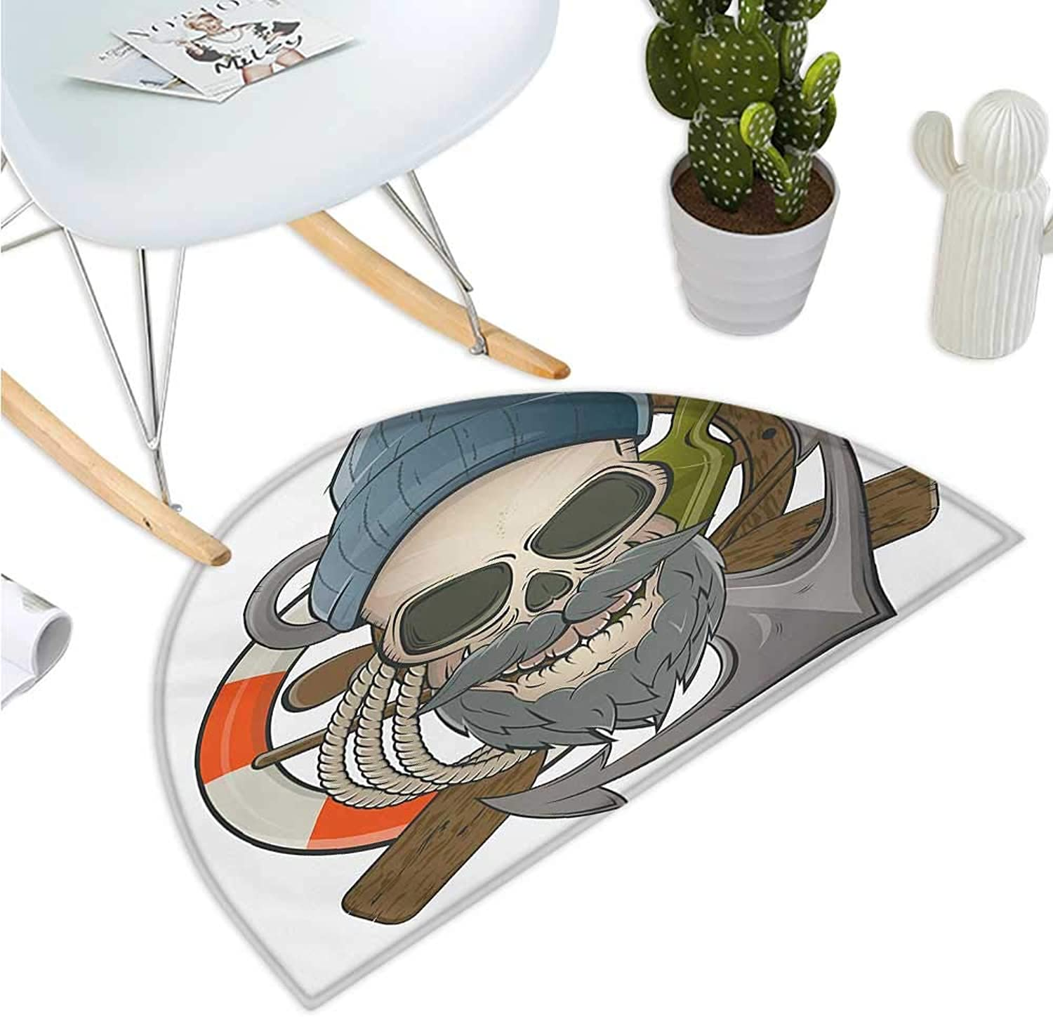 Skull Semicircular Cushion Illustration of Sailor Old Skull with Beard Mascot Nautical Theme Skeleton Lifebuoy Entry Door Mat H 51.1  xD 76.7  Multicolor