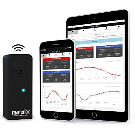 Ideal Sciences Temp Stick Wireless Remote WiFi Temperature & Humidity Sensor. No Monthly Fees. 24/7 Monitoring, Alerts & History. Free iPhone/Android Apps, Made in America. Monitor Anywhere, Anytime!