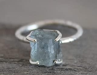 Raw Aquamarine Gemstone Sterling Silver Ring size 6