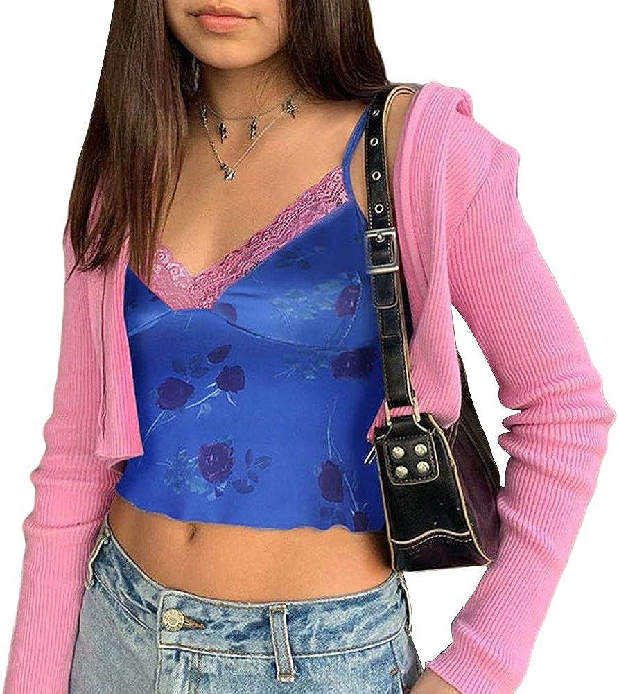 Women's Lace Crop Top Sexy V Neck Spaghetti Strap Patchwork Tank Top Cami E-Girl Slim Camisole Shirt (B Blue, M)