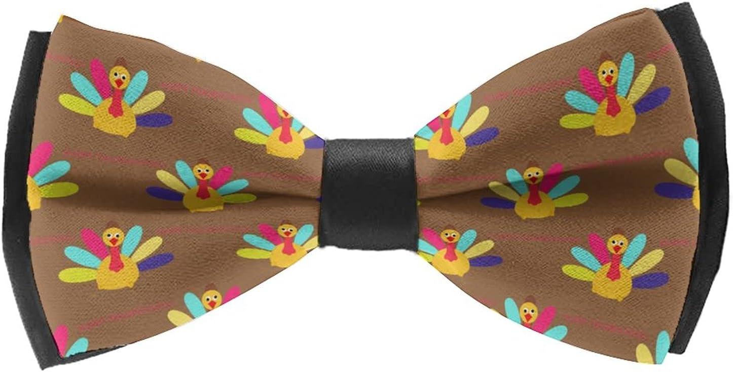 AMRANDOM Adults & Children Elegant Adjustable Pre-Tied Bow Ties Self Tie Freestyle Color Pattern Bowtie Bow Tie for Tuxedo & Wedding, Thanksgiving Turkey Pattern (5)
