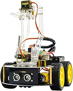 KEYESTUDIO 4WD Smart Car Robot Arm Kit for Arduino IDE Programmable Robot Set for Adults
