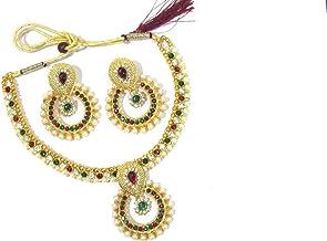 Shree Mauli Creation Maroon Green Alloy Multi colour Stone Pearl Polki Pendant Necklace Set for Women SMCN342