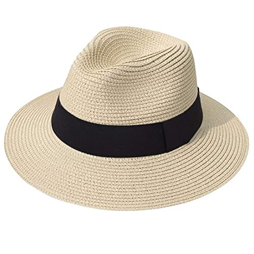 Lanzom Women Wide Brim Straw Panama Roll up Hat Fedora Beach Sun Hat UPF50+ d1303fd58