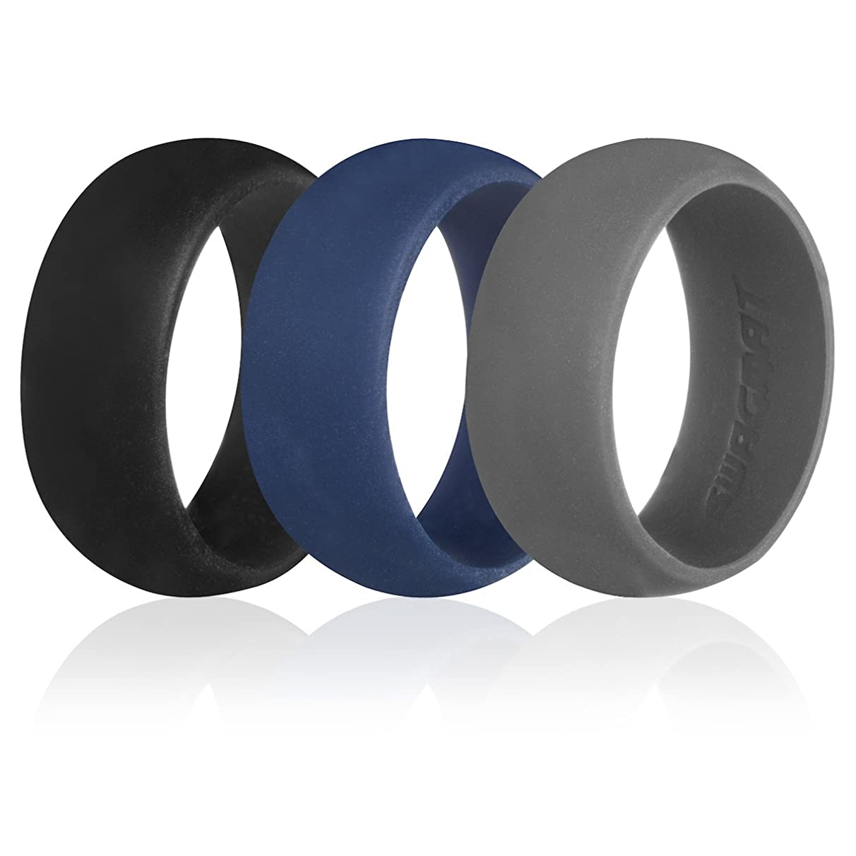 Men's Silicone Wedding Ring Bands – 3 Ring Pack – Mine Shaft Black, Emperor Gray, Silver Sand, Cloudburst Blue - 8.7 mm Width - 2 mm Thickness