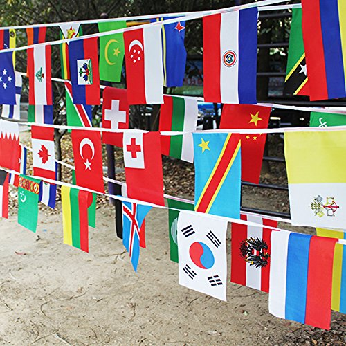 G2PLUS International Flags, 82 Feet 8.2'' x 5.5'' World Flags, 100 Countries Olympic Flags Pennant Banner for Bar, Party Decorations, Sports Clubs, Grand Opening, Festival Events Celebration New Hampshire