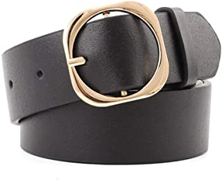 SGJFZD The New Round Shape Fashionable Buckle Light Smooth PU Belt Gold Shiny Multi-Size Belt Ladies Belt (Color : Black, Size : 100 * 3.3cm)
