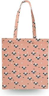 Geometric Pugs Canvas Tote Bag - Zipper Canvas Tote Bag
