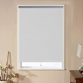Matinss Blackout Roller Shades and Blinds for Bedroom, Outdoor Cordless Privacy Roller Blinds for Windows with Spring System UV Protection, Thermal Insulation White, 48x72