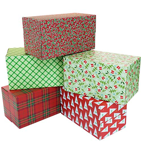 Holiday Shipping Boxes (Pack of 5 - Assorted Patterns - 11.5'x6'x6')