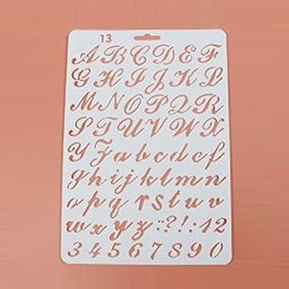 Plantillas de letras reutilizables con diseño de alfabeto para pintar, álbumes de recortes y manualidades