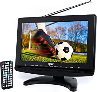 """Tyler TTV706 10"""" Portable Widescreen 1080P LCD TV with Detachable Antennas, HDMI, USB, RCA, FM Radio, Built in Digital Tuner, AV Inputs, AC/DC, (3) Antennas, and Remote Control"""