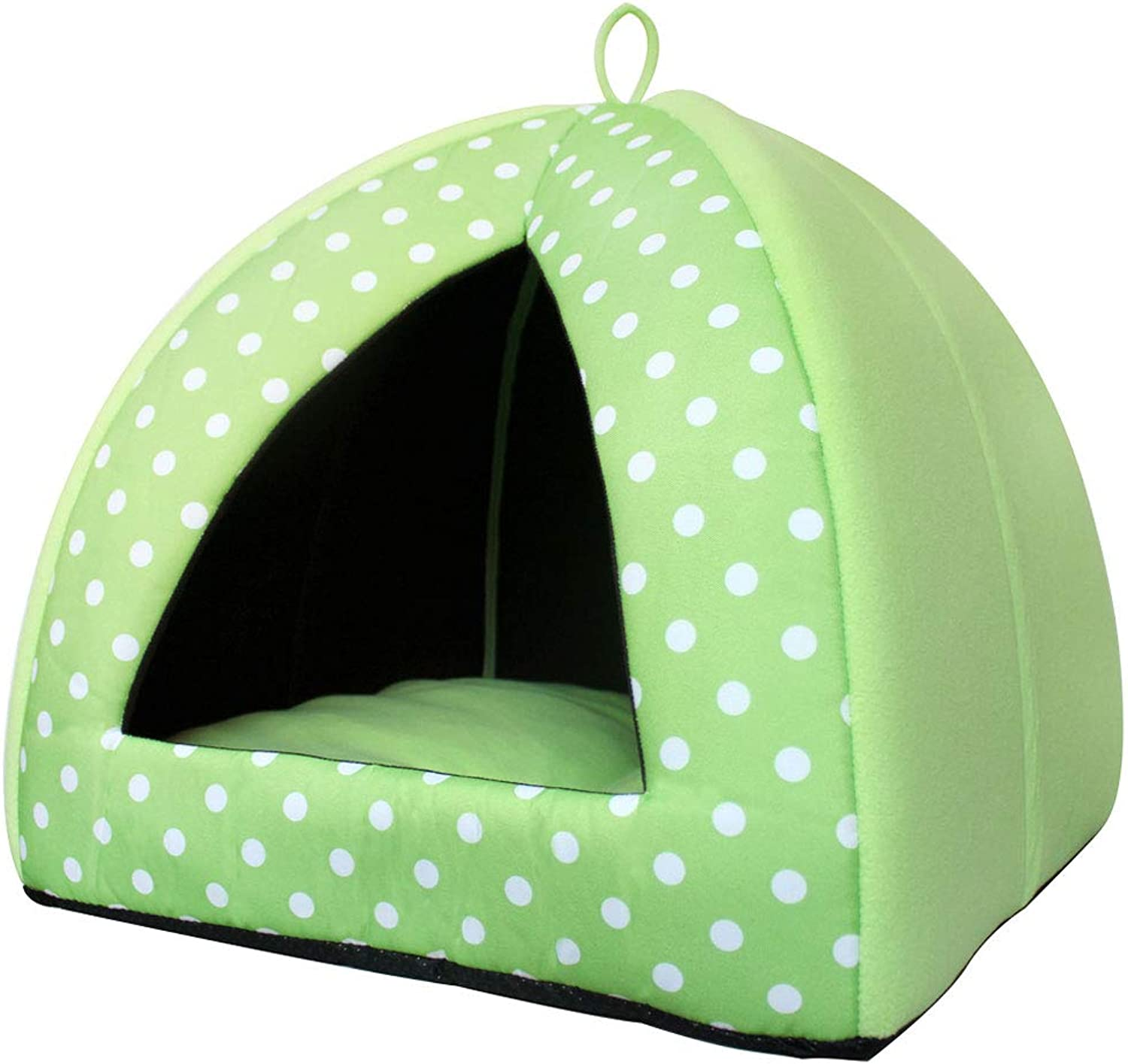 LYYL006 Cute Pet Cotton Bed Puppy Small Medium Dog Cat Sleeping House House Nonslip Warm Washable (color   Green, Size   Xl 48  48  48cm)
