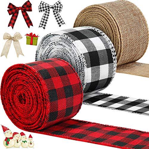 3 Rollos de Cintas con Borde de Cable de Navidad de 30 Yardas x 2 Pulgadas Cinta a Cuadros con Alambre para Boda Envoltura DIY Lazo (Rojo y Negro, Blanco y Negro, Arpillera Natural)