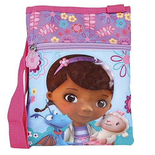 Kinder Umhängetasche für Mädchen mit Doc McStuffins - Flach Umhänge für Kinder mit Frontverschluss - Rosa und Blau Klein Tasche für Reisen und Freizeit - Perletti 21x18 cm